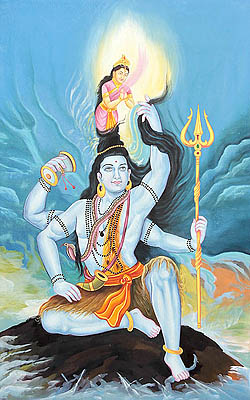 Lord Shiva Holding River Goddess Ganga into His Matted Hair