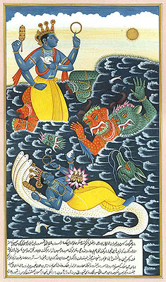 Lord Vishnu Killing the Demons Madhu and Kaitabha