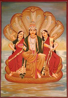 Lord Vishnu on Sheshnaag, with Bhudevi and Sridevi