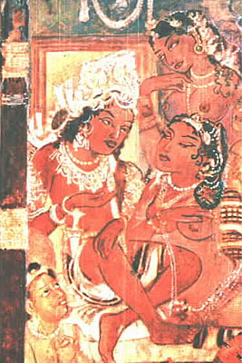 This picture shows a scene from palace life, in which Mahajanaka watches a dance performance arranged by his wife Sivali to keep him tied to worldly life. She clearly has eyes only for him.