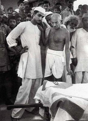 Gandhiji Consoling the Next of Kin of a Riot Victim