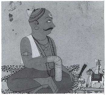 Raja Sidh Sen of Mandi Saying His Rosary (ca 1720) Gouache on paper 20 X 20 cm