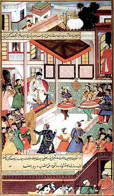 Celebrated Dancers from Mandu Perform Before Akbar (Illustration to the Akbarnama), circa 1590 - 1605. Observe the costume of the dancers, out of tune with the rest of the court.