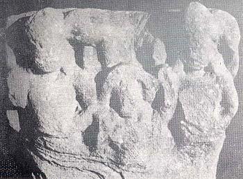 Triad consisting of Samkarsana/Balarama, Ekanamsa and Vasudeva Krsna. Mathura Museum No. 67.529