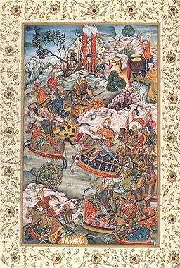 Battle with the Hazars, from the Baburnama