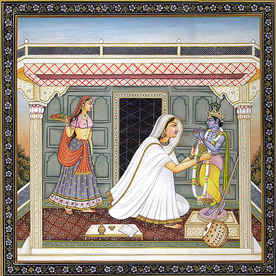 Mirabai Adorning Beloved Lord Krishna with a Garland