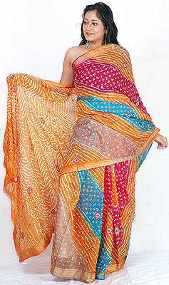 Multicolor Bandhani Silk Sari From Rajasthan With Mirrors