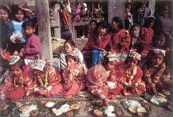 Ihi ceremony ('bel marriage') for young girls, Bhaktapur