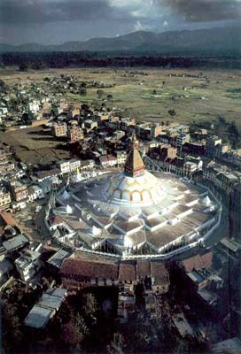 Only from the air is it evident that Boudhnath