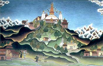 Landscape Painting of Swayambhunath Temple