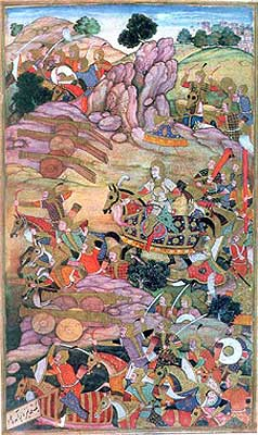 The Battle of Panipat (Illustration to the Baburnama), circa 1598 (National Museum, New Delhi).