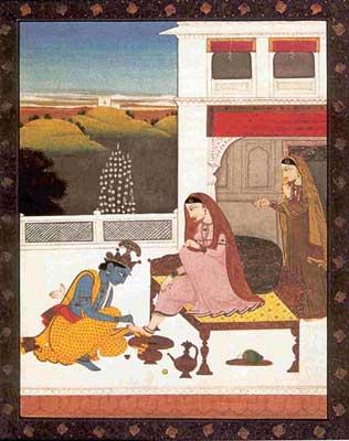 Krishna adorning Radha with a Payal