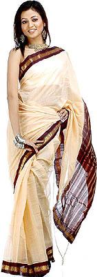 Peachyellow Handwoven Gadwal Sari With Real Zari