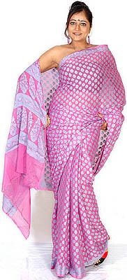 Pink Banarasi Sari With Allover Woven Flowers