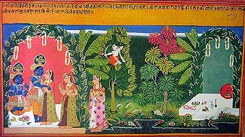 Radha Krishna in a Garden Pavilion