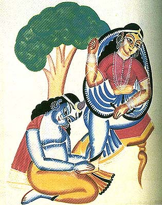 Krishna at Radha's Feet (Kalighat Painting- Watercolor on  Newsprint)