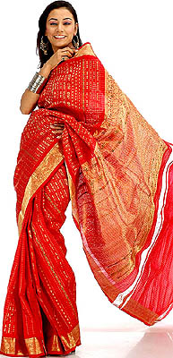 Red Bridal Sari Handwoven in Bangalore with Heavy Zardozi on Border and Pallu