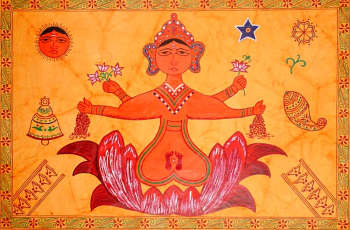 Ritual Painting of Goddess Lakshmi for Worship on Diwali