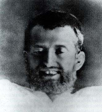 Closeup of Ramakrishna's face in Samadhi cropped from a photograph taken on 21st September 1879