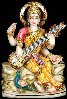 Saraswati: Goddess of Learning and Art with Peacock