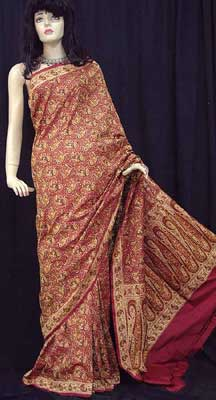 Hand Woven Paisley Sari with Embroidery All Over from Banaras