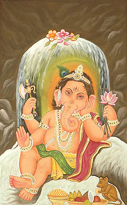 Shivalinga Protects Baby Ganesa