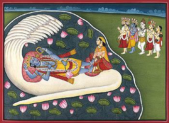 Shri Narayana Lakshmi on Shesha Venerated by Brahma, Vishnu, Shiva, Indra and Narada