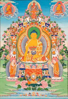 Buddha Seated on The Six-Ornament Throne of Enlightenment