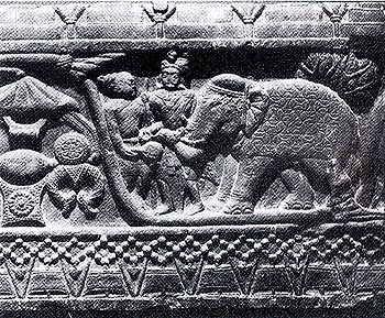 Prince Vessantara donating Jetuttara's auspicious elephant to the people of Kalinga represented in the panel by the figure of a Brahmin. Second century B.C., Bharhut.