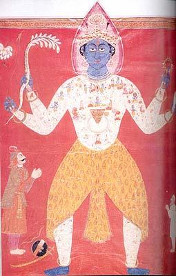 Krishna's Vishwa-Rupa, (Fragmant of the Guru Granth Sahib, Kashmiri-Sikh School, circa A.D. 1839)