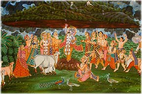 Krishna Lifts Mount Goverdhan