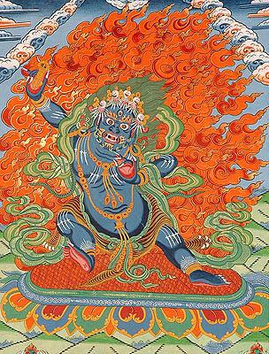 Wrathful Vajrapani with Wisdomfire Aureole