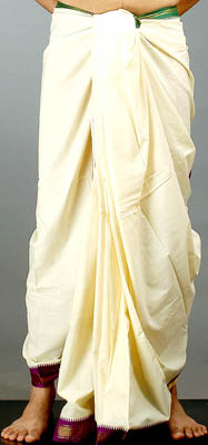 Ivory Dhoti with Zari Border
