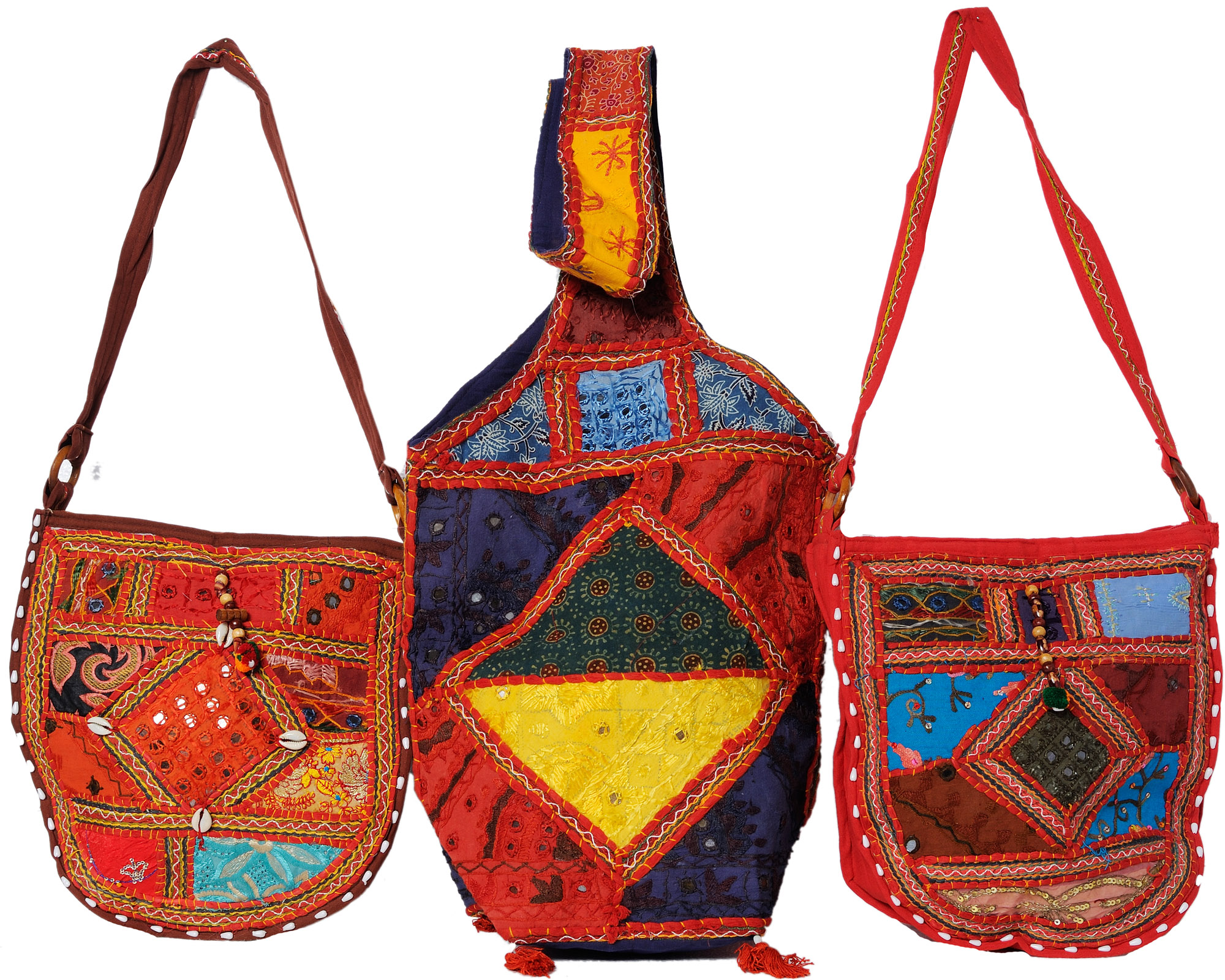 Assorted lot of three embroidered handbags from kutch