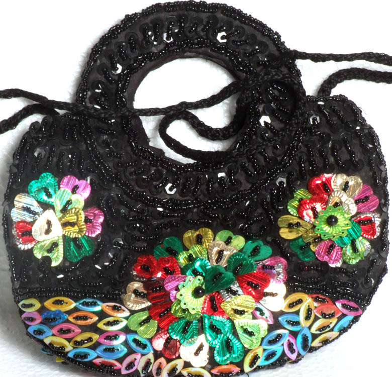 Black Handbag With Beads And Sequins Embroidered As Flowers