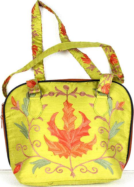 Light green kashmiri handbag with embroidered maple leaf
