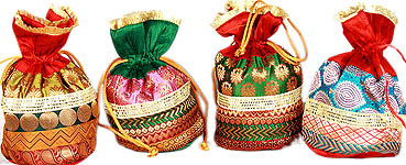 Lot of Four Drawstring Potli Bags with Brocade Weave