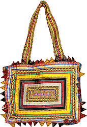 Golden Rabari Shoulder Bag from Kutch Made by Hand