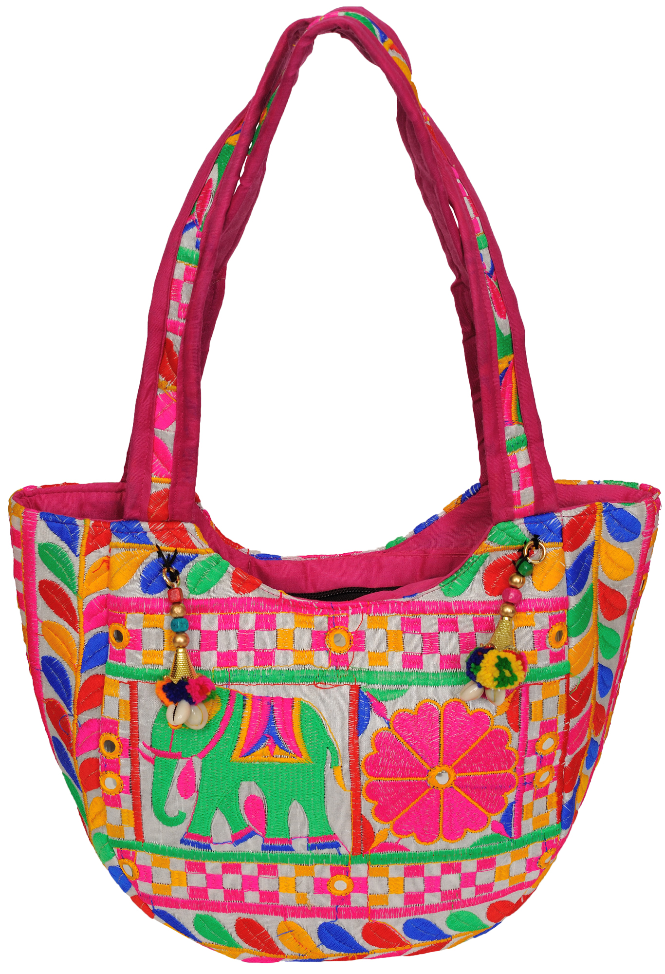 Shoulder bag from kutch with embroidery in multicolor thread