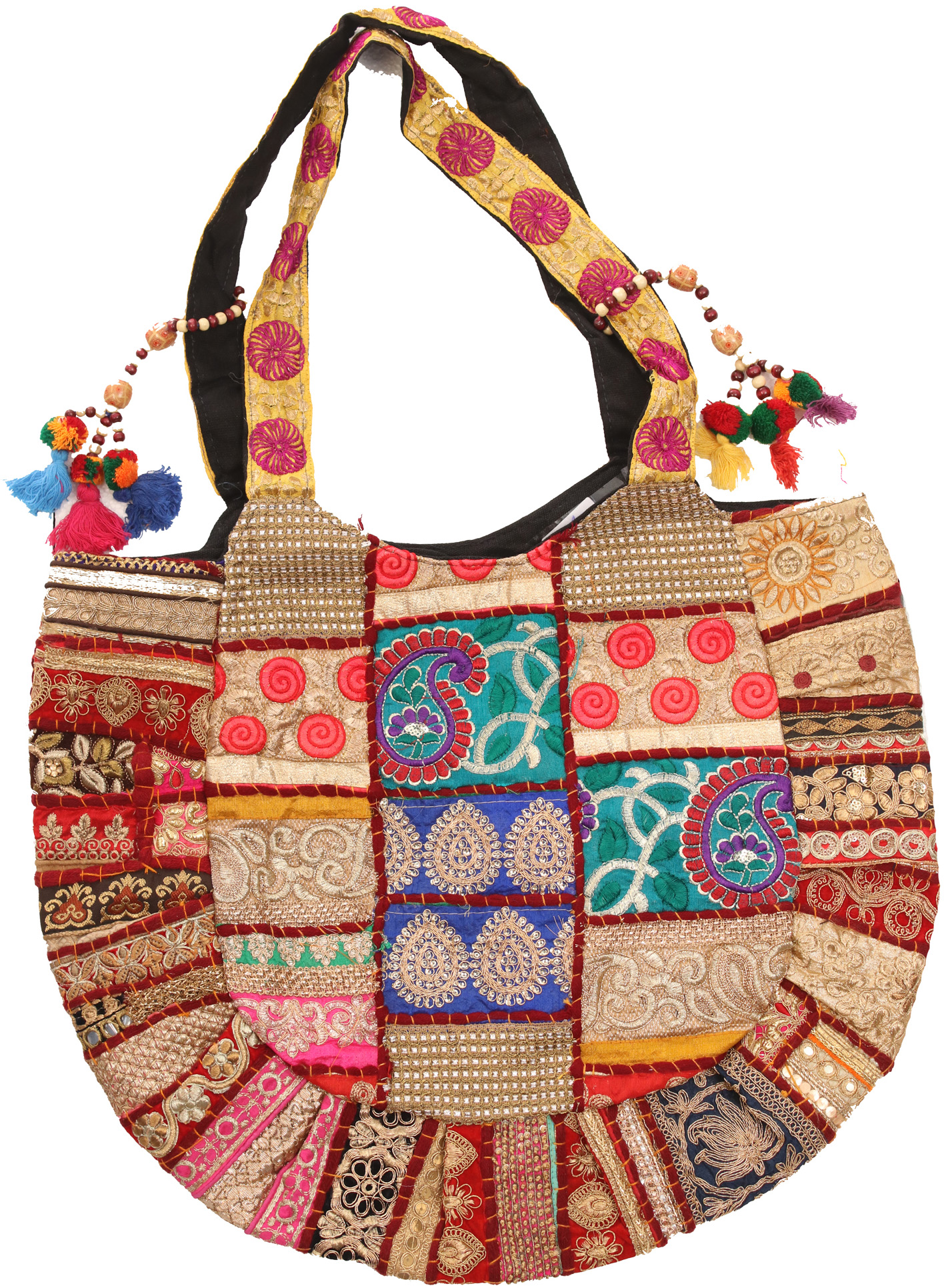 Multicolor shopper bag from kutch with embroidery and crystals