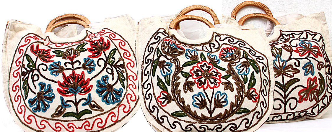 Lot of three shopper bags with crewel embroidery from kashmir