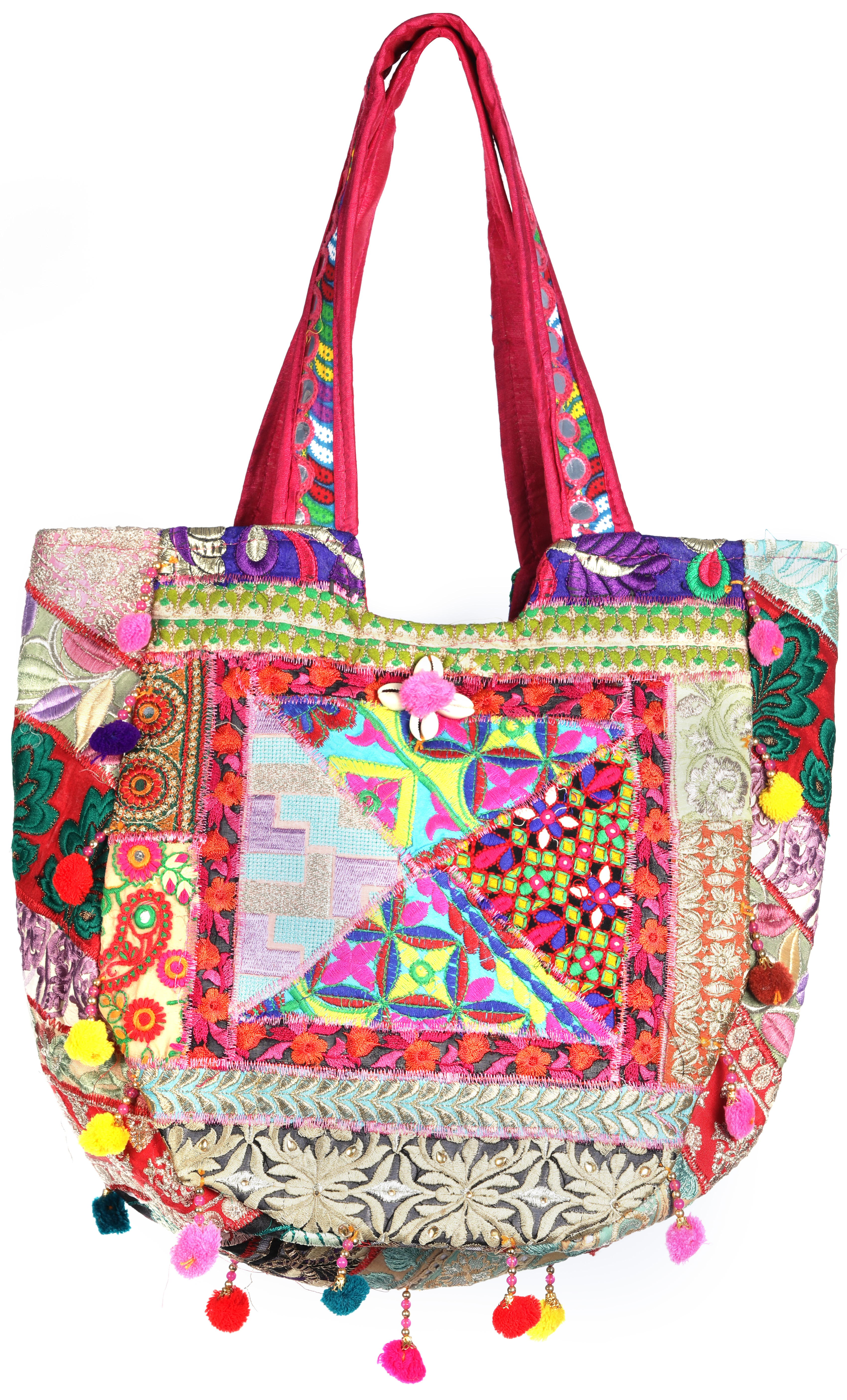 Shopper bag from kutch with floral embroidery and crystals