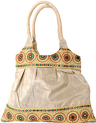 Plain Shopper Bag with Embroidered Patch Border