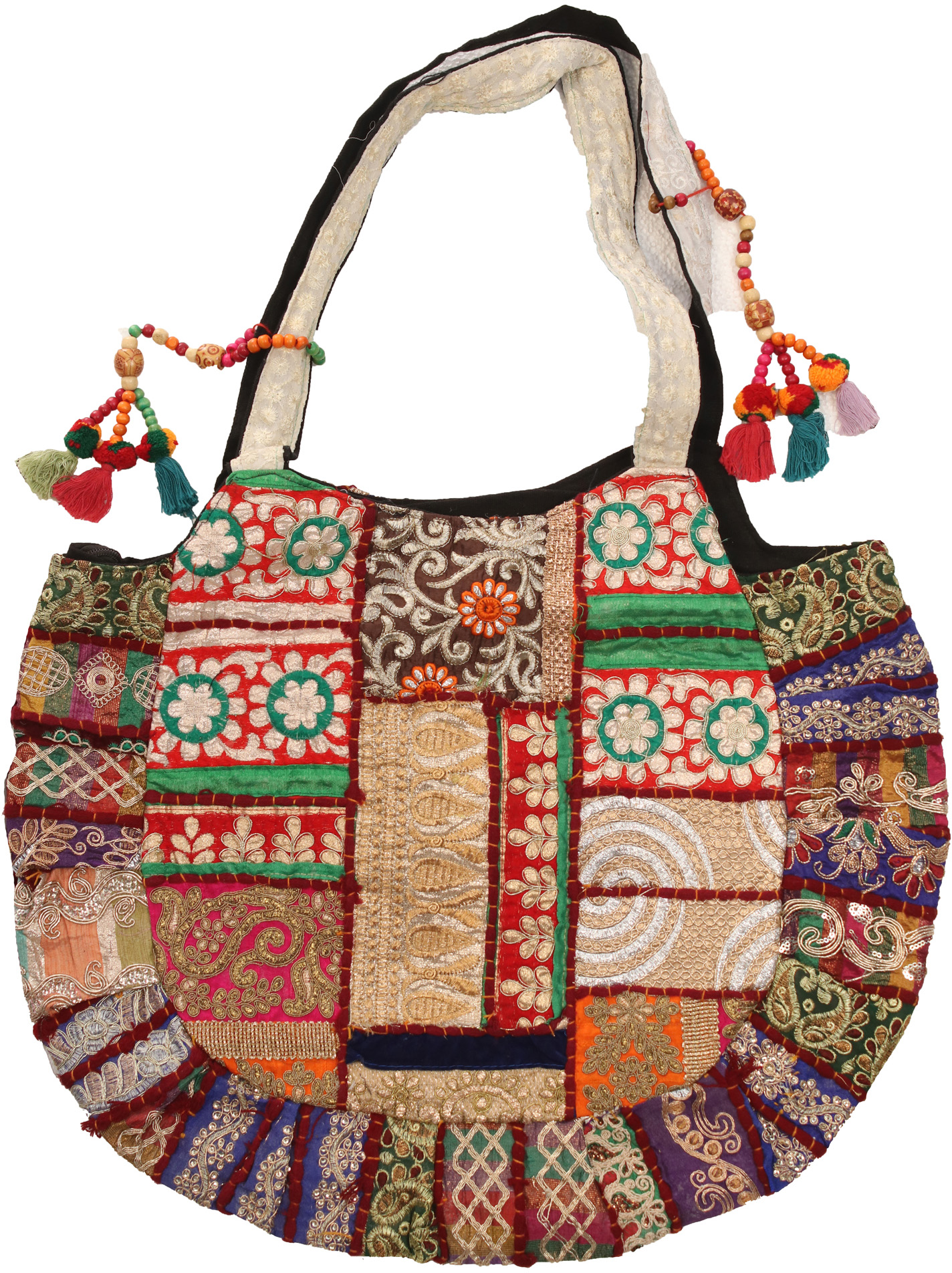 Shopper bag from kutch with embroidered elephants and mirrors