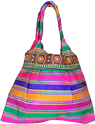 Multi-Color Shopper Bag with Ari Embroidered Patch Border