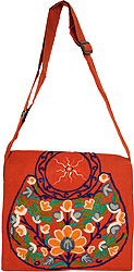 Nepalese Jhola Bag with Embroidered Flowers