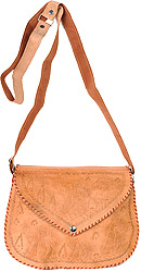 Fawn Leather Handbag from Jodhpur with Etched Camels
