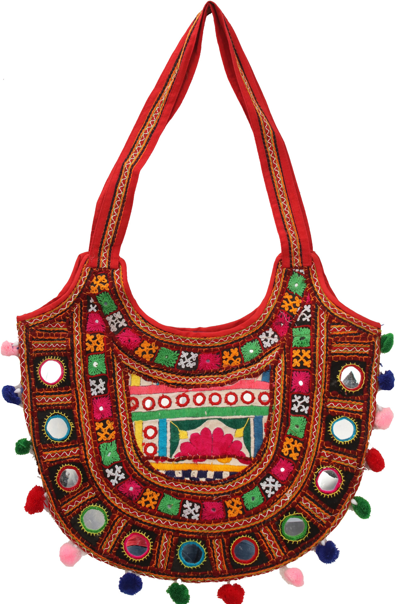 Multi color shopper bag from kutch with ari embroidery all