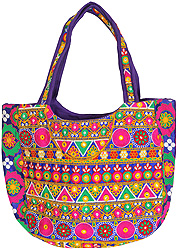 Multi-Color Shopper Bag from Kutch with Ari Embroidery All-Over