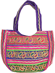 Multi-Color Shopper Bag from Kutch with Zardozi Embroidery All-Over
